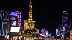 Time lapse moving down to the Las Vegas strip at night Stock Footage