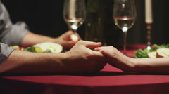 A cute couple have a candlelit dinner together Stock Footage