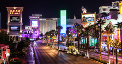 4K time lapse of the casino hotels of the Las Vegas strip - stock footage