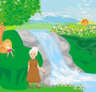 grandmother walking with her granddaughter - stock illustration