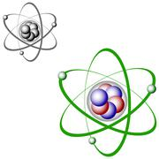 Atom structure - color and bw - stock illustration