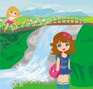 Girls are playing nearby waterfall Stock Illustration