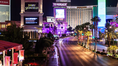 Time lapse panning across the Las Vegas strip at night Stock Footage