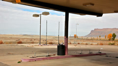A Closed Gas Station in Rural Setting in Wide Angle Stock Footage