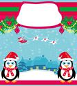 Stock Illustration of christmas holiday background with santa claus ,reindeer and cute penguins