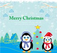 Christmas card with penguins Stock Illustration