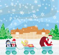 Stock Illustration of santa christmas train - baby, gifts and penguins