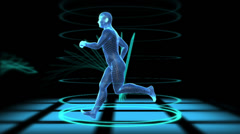 Wire frame man running with after effects added - stock footage