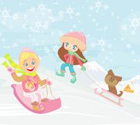 fun in the winter day - stock illustration