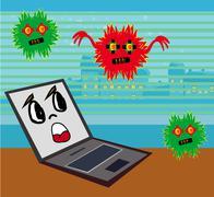 Computer virus attacking laptop Stock Illustration