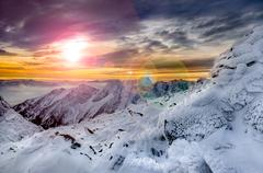 winter mountains scenic view with frozen snow and icing - stock photo