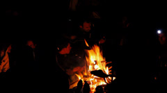 Young adults sitting around a camp fire Stock Footage