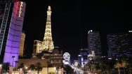 Stock Video Footage of HD video of Paris Las Vegas casino and the strip at night