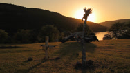 Stock Video Footage of Totem sculptures at sunset
