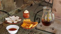 Bulgarian breakfast - banitsa and yogurt Stock Footage