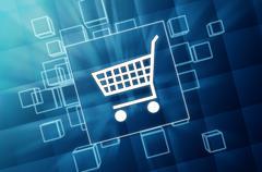 Shopping cart sign in blue glass blocks Stock Illustration