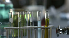 College students do experiments in a chemistry lab, close up - stock footage