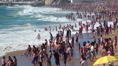 0987  Crowd at the beach, Viña del Mar, Chile Stock Footage