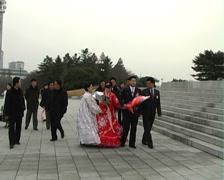 Newly wedding couple in Pyongyang Stock Footage