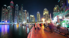 Walking street in dubai marina Stock Footage