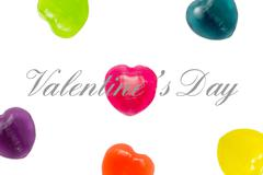 Valentine Day Text with Heart Candy Background - stock illustration