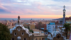 Parc guell panorama day to night Stock Footage