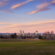 Denver Skyline Wide Angle - stock photo
