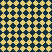 Navy blue and yellow diagonal checkers on textured fabric background Stock Illustration