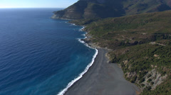 Aerial corsica black beach nonza Stock Footage