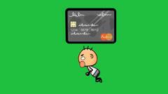 Credit Card Chasing Cartoon Man Stock Footage