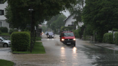 Flooded road Tiroler Achen cars Germany Stock Footage