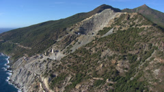 Stock Video Footage of aerial corsica mine canari mountain