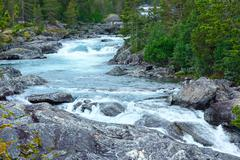 Summer  mountain river waterfalls (norge) Stock Photos