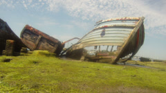 Old boats and clouds 01 Stock Footage