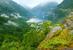 geiranger fjord (norge) summer view - stock photo