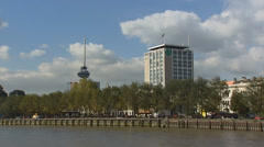 Sailing along City of Rotterdam - Euromast Stock Footage