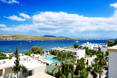 the beach on aegean turkish resort, bodrum, turkey - stock photo