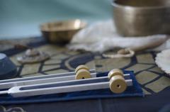 Healing tuning forks. Stock Photos