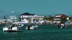 Cayman Islands, the west side waterfront of Georgetown seen from the sea. Stock Footage