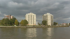 City of Rotterdam - residential area river Nieuwe Maas, apartment buildings Stock Footage