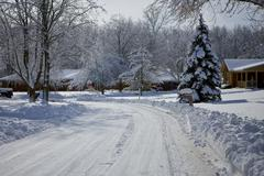 view of snow covered neighborhood 6 - stock photo