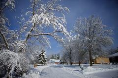 view of snow covered neighborhood 2 - stock photo