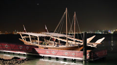 Dhows at night. Doha. Qatar Stock Footage
