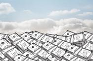 Stock Illustration of Dollar bills under cloudy sky