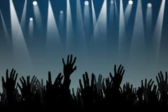 Stock Illustration of hands up silhouettes at a concert