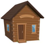 wood house lifestyle - stock illustration