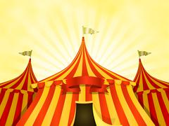 Big top circus background with banner Stock Illustration