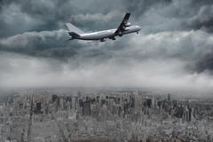 Composite image of gloomy city - stock illustration