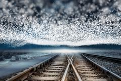 Train tracks under blanket of bright stars - stock illustration