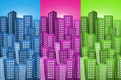 cityscape backgrounds set - stock illustration